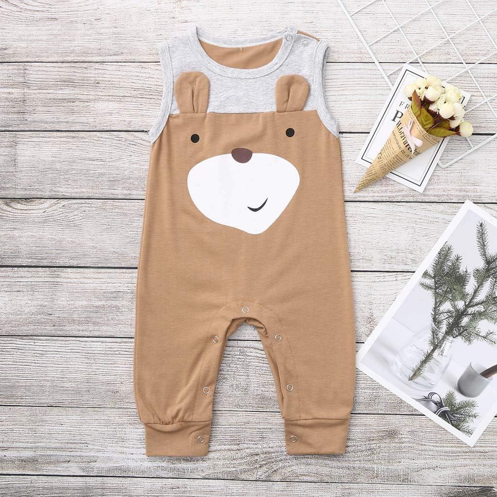 0M-3Y SANGQU Kids Baby Boys Sleeveless Romper Catoon Animal Long Pants Jumpsuit