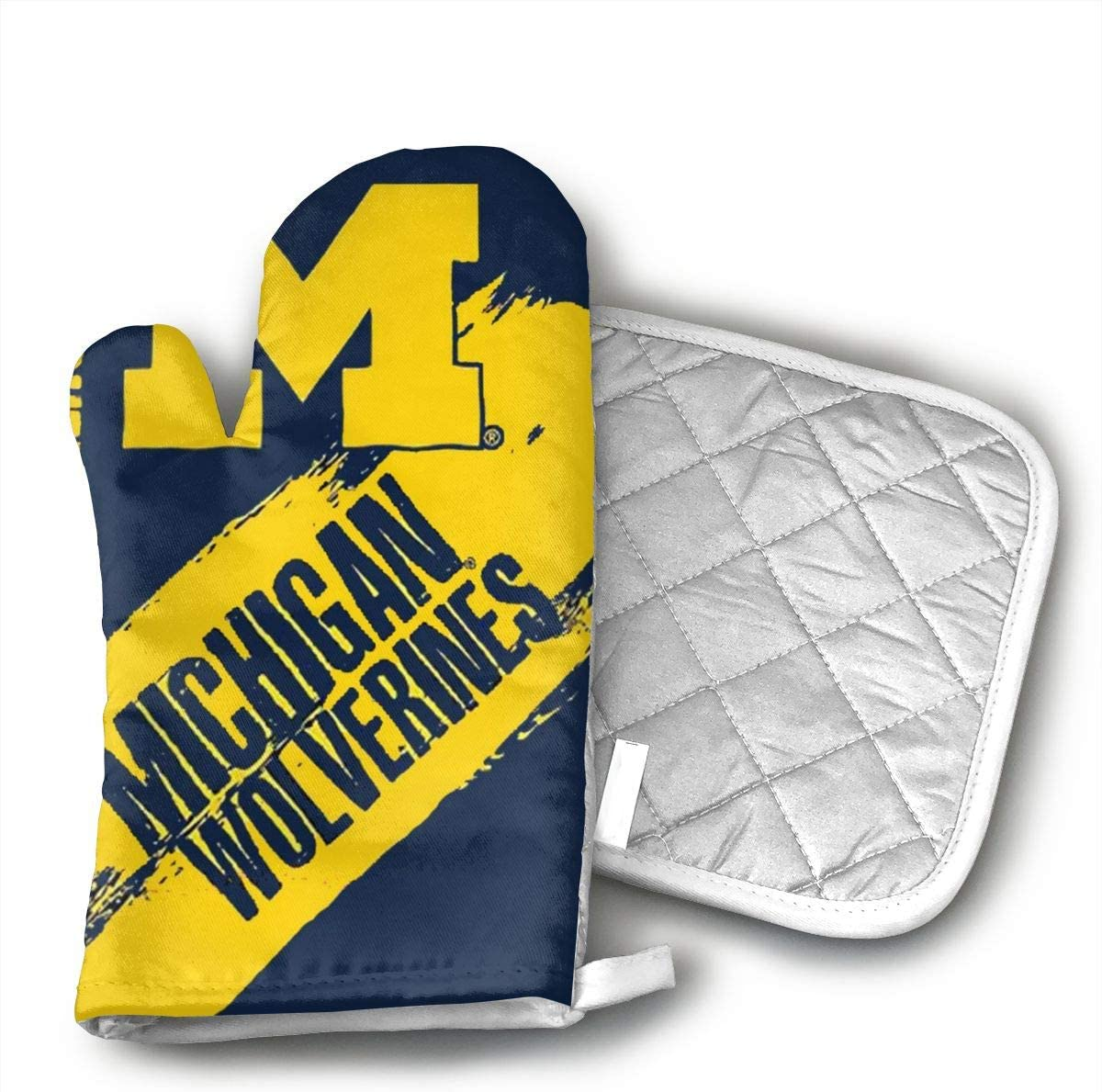 Michigan Wolverines Oven Mitts and Potholders (2-Piece Sets) - Kitchen Set with Cotton Heat Resistant,Oven Gloves for BBQ Cooking Baking Grilling