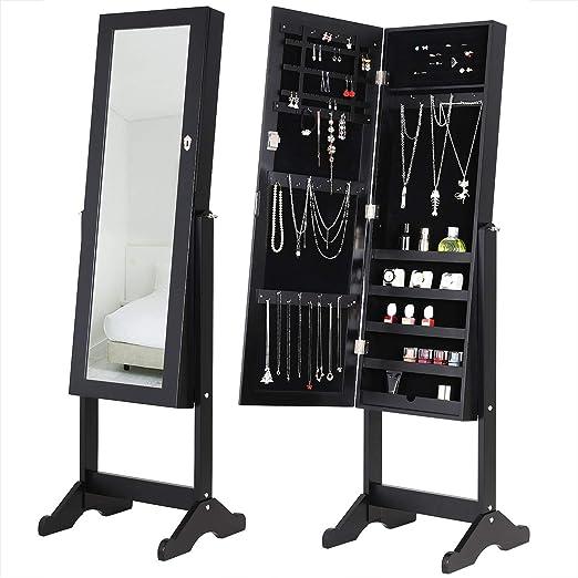 Deuba Armoire à Bijoux sur Pied avec Miroir Moderne et pivotable - Noir -  Rangement Accessoires pour Chambre, Salle de Bain, Dressing