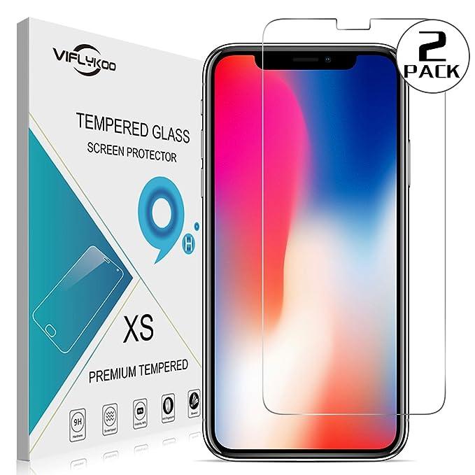 5 opinioni per VIFLYKOO iPhone X Pellicola Protettiva Vetro Temperato [2-Pack] Protezione