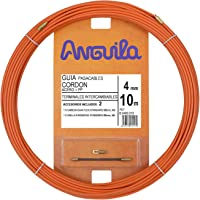 Anguila - Guía Pasacables Cordón de Acero + Polipropileno, 10 m, Diámetro 4 mm, Terminales Intercambiables, Naranja.