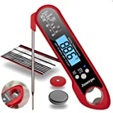 Juseepo Waterproof Digital Instant Read Meat Thermometer - Ultra Fast Thermometer with Backlight & Calibration for Kitchen, Outdoor Cooking, Grill BBQ, and Liquids(Red)