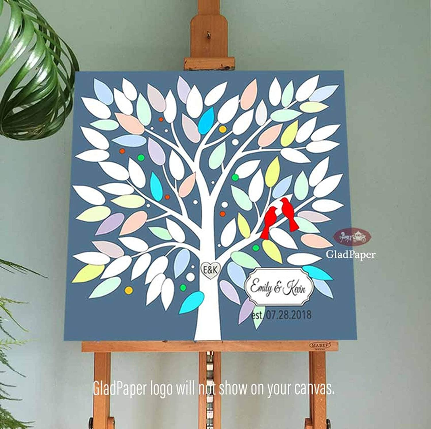 Personalized Alternative Guest Book Tree Branch with Love Birds Wedding Guest Book Print Custom Family Tree Print Gift for Bride Groom