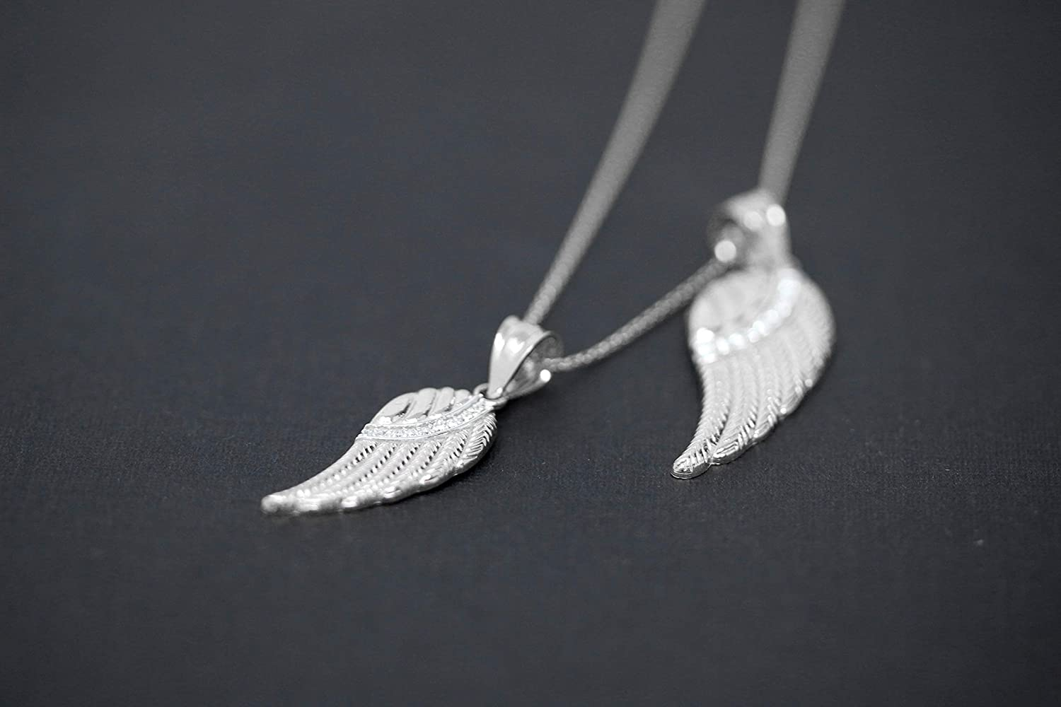 Available in Two Sizes CaliRoseJewelry 14k White Gold Feather Angel Wing Diamond Pendant Necklace