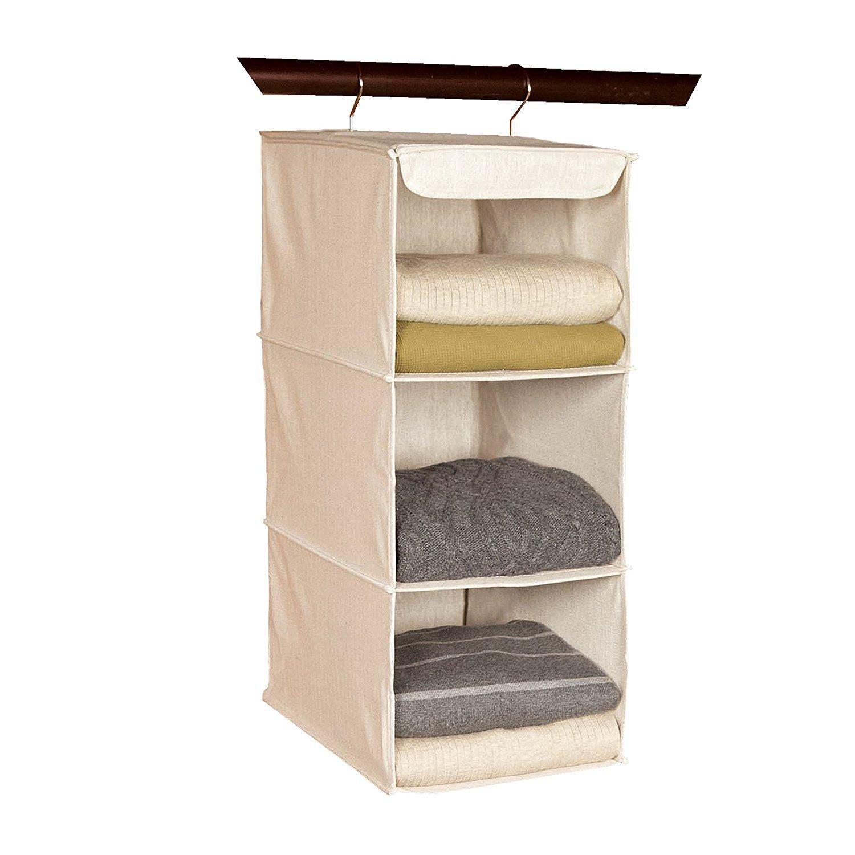 Richards Homewares 3 Shelf Hanging Sweater Organizer - Canvas/Natural - (Set of 2)