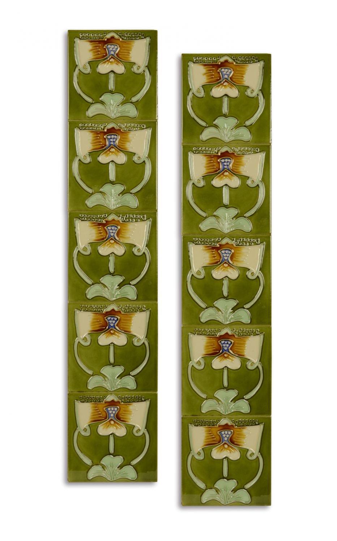10x Fliese handbemalt Kachel Replika Antik-Stil Jugendstil Set d