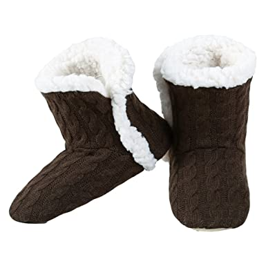 1f07c029830 Amazon.com  Yelete Womens Cable Knit Slippers House Booties Socks Soft Sherpa  Lining Rubber Soles  Clothing