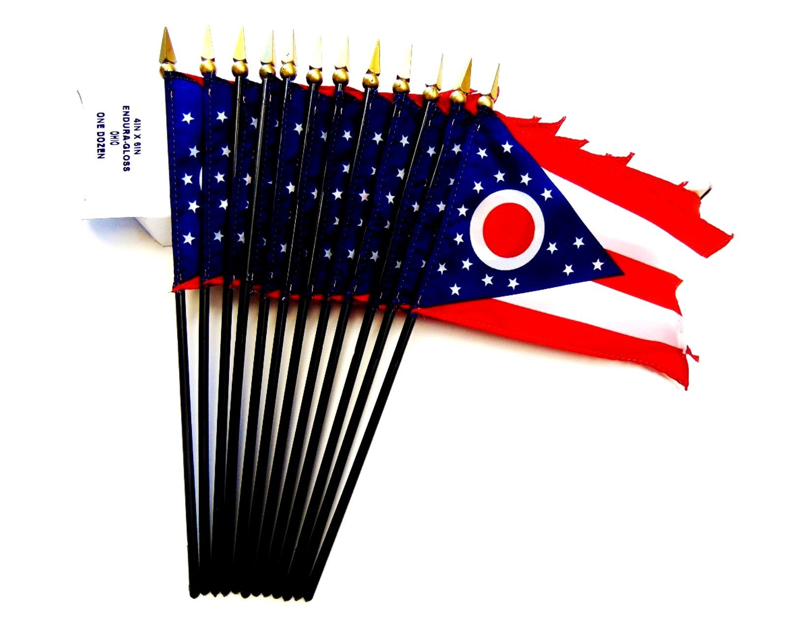 MADE IN USA!! Box of 12 Ohio 4''x6'' Miniature Desk & Table Flags; 12 American Made Small Mini Ohio State Flags in a Custom Made Cardboard Box Specifically Made for These Flags