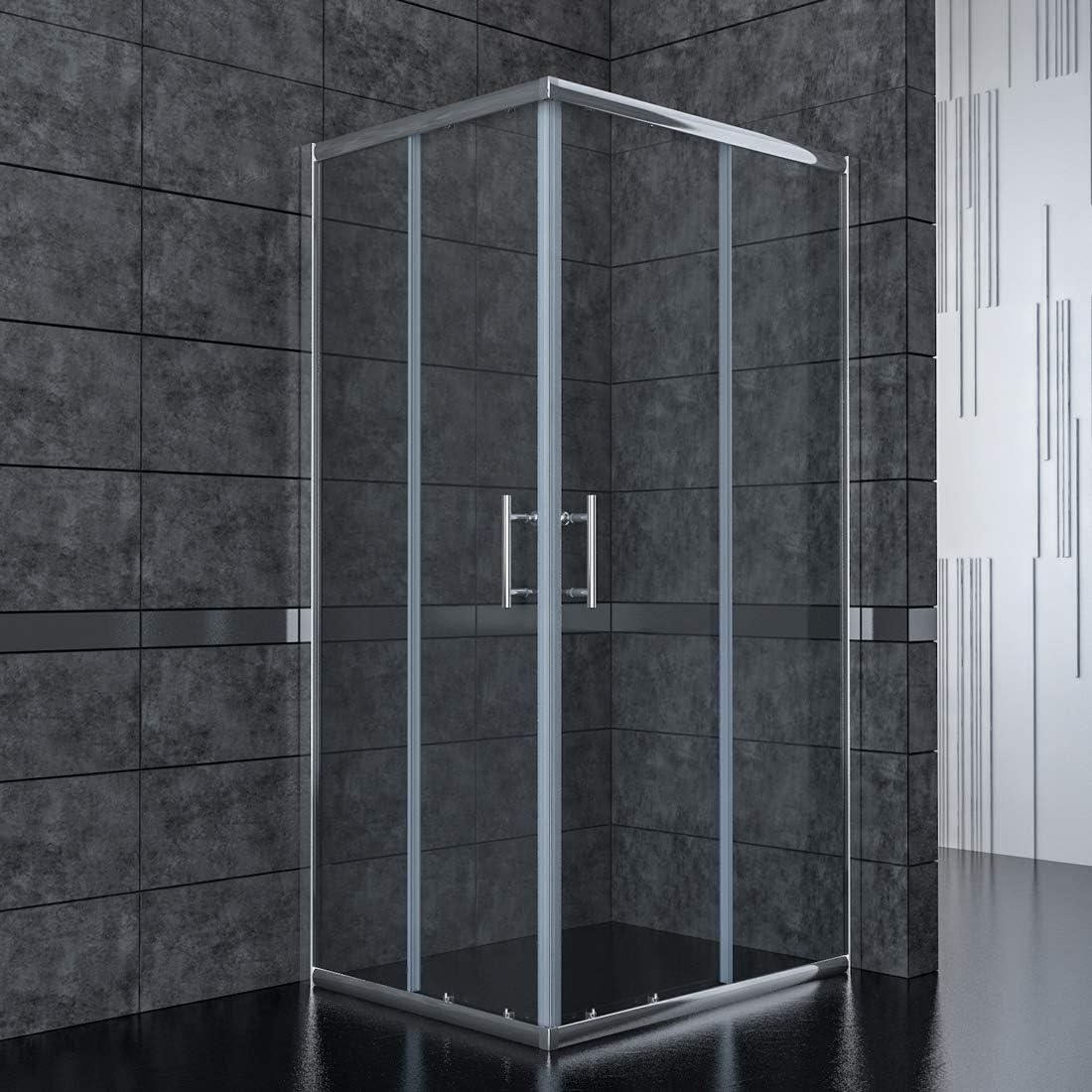 SONNI Mampara de Ducha Angular Puertas Corredera 80x80cm,Puertas de Ducha Apertura Central con Vidrio Templado de Seguridad 5mm