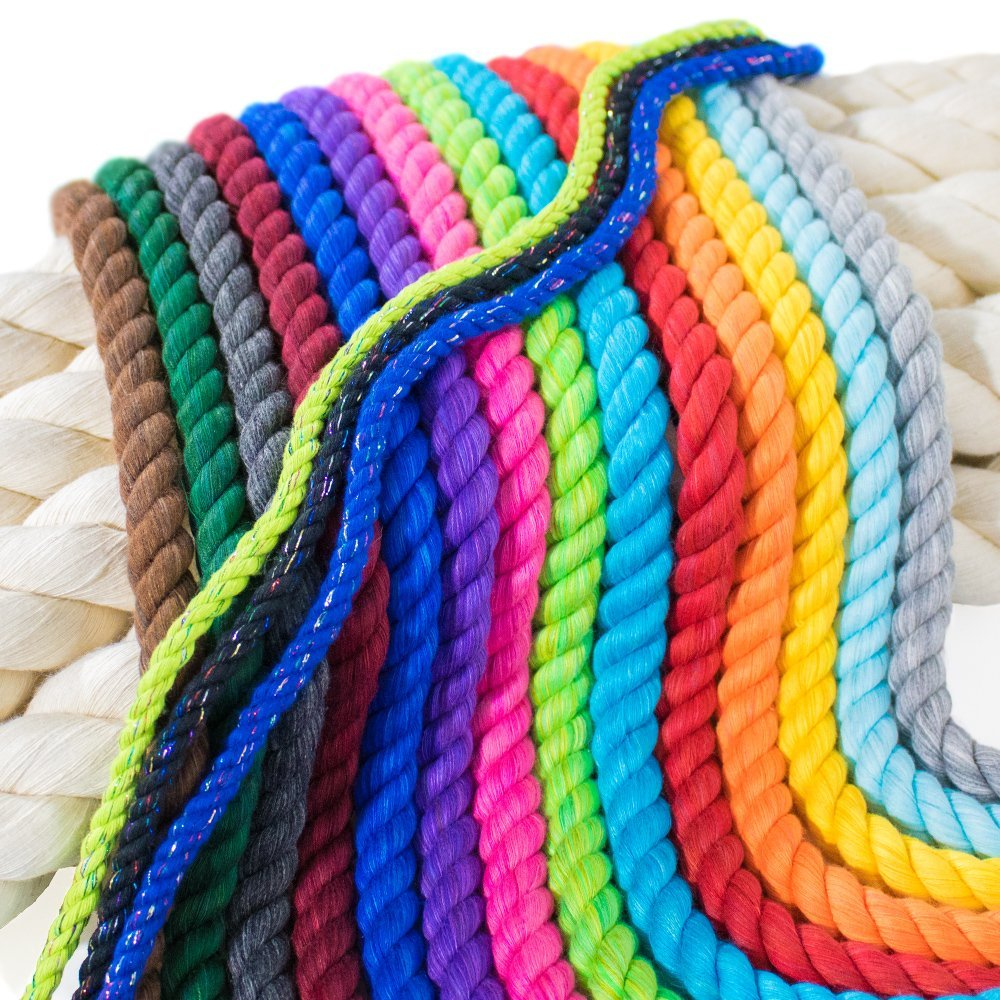 Paracord Planet Twisted 3 Strand Natural Cotton Rope Artisan Cord - 1/4, 1/2, 5/8, 3/4, and 1 inch Diameters - Super Soft White and Assorted Colors by The Foot - 10', 25', 50', 100' and Full Spools by PARACORD PLANET