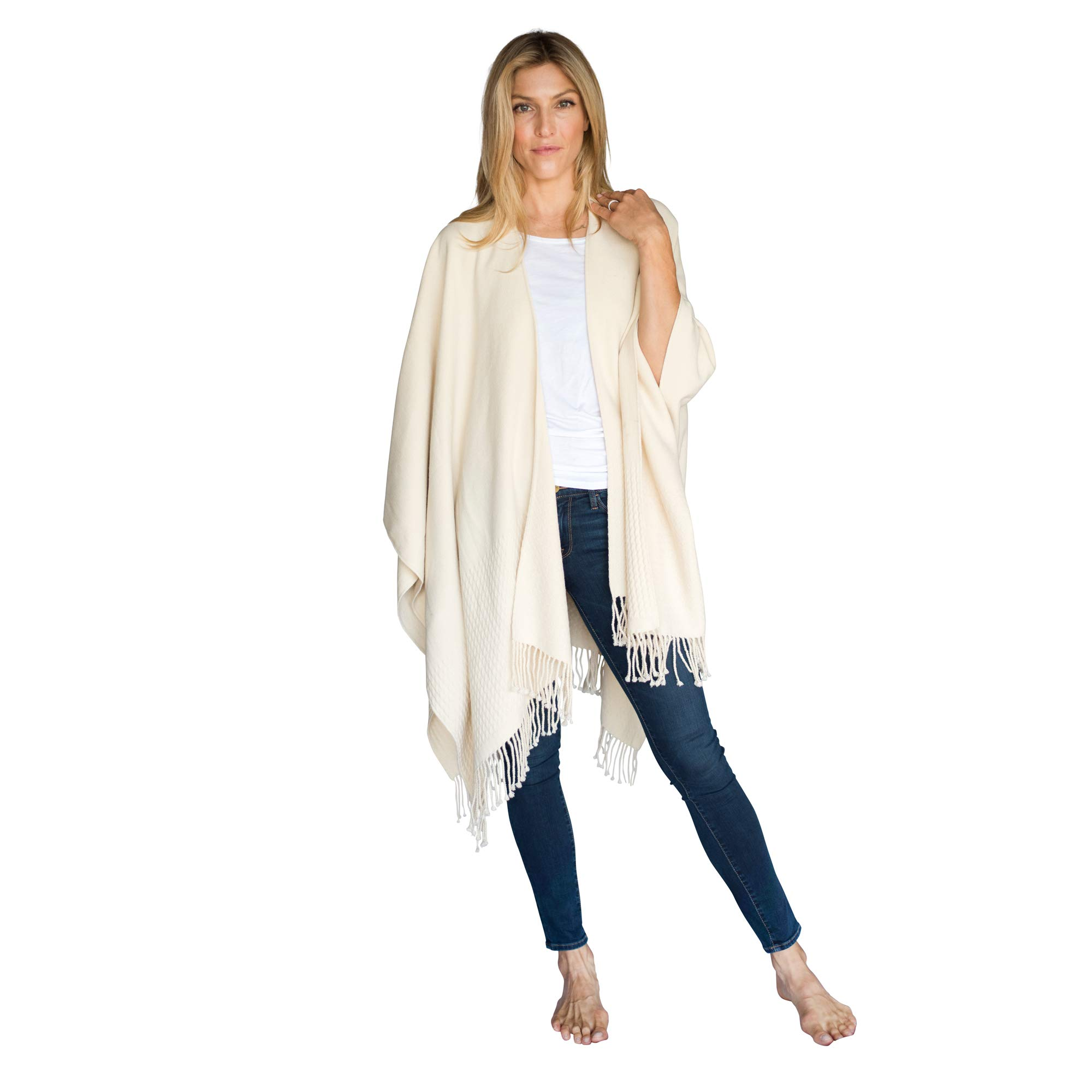 Mer Sea & Co Luxury Travel Wrap with Bag - Oyster (Creamy Off-White) - 61'' x 50'' by MER SEA & CO