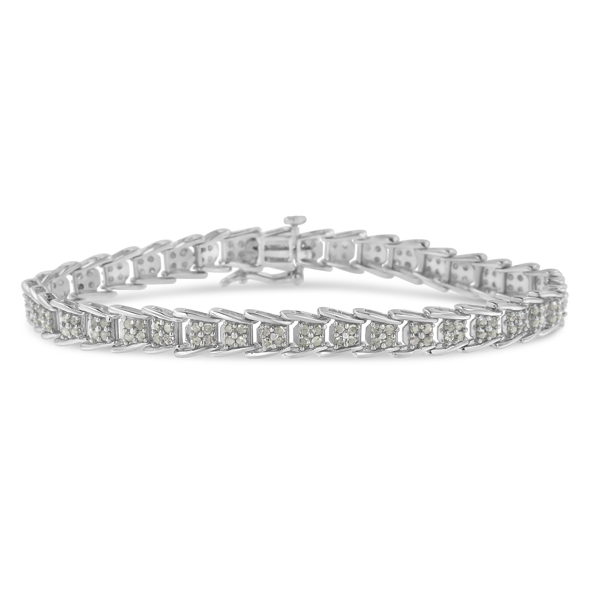 Sterling Silver Rose-Cut Diamond Fan-Shaped Bracelet (2.00 cttw, I-J Color, I3-Promo Clarity)