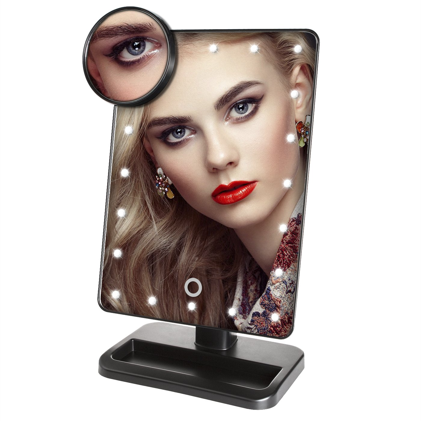 Lighted Makeup Mirrors, Laniakea® Professional Desktop Touch Screen 180 Degree Free Rotation Vanity Table Mirrors with Intelligent Adjustable 20 LED Lights(Free Matched with a 10x Magnifying Spot Mirror)