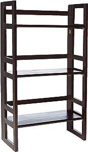 "Casual Home 3-Shelf Folding Student Bookcase (20.75"" Wide)-Espresso"