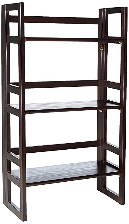 Casual Home 3 Shelf Folding Student Bookcase 2075quot Wide Espresso
