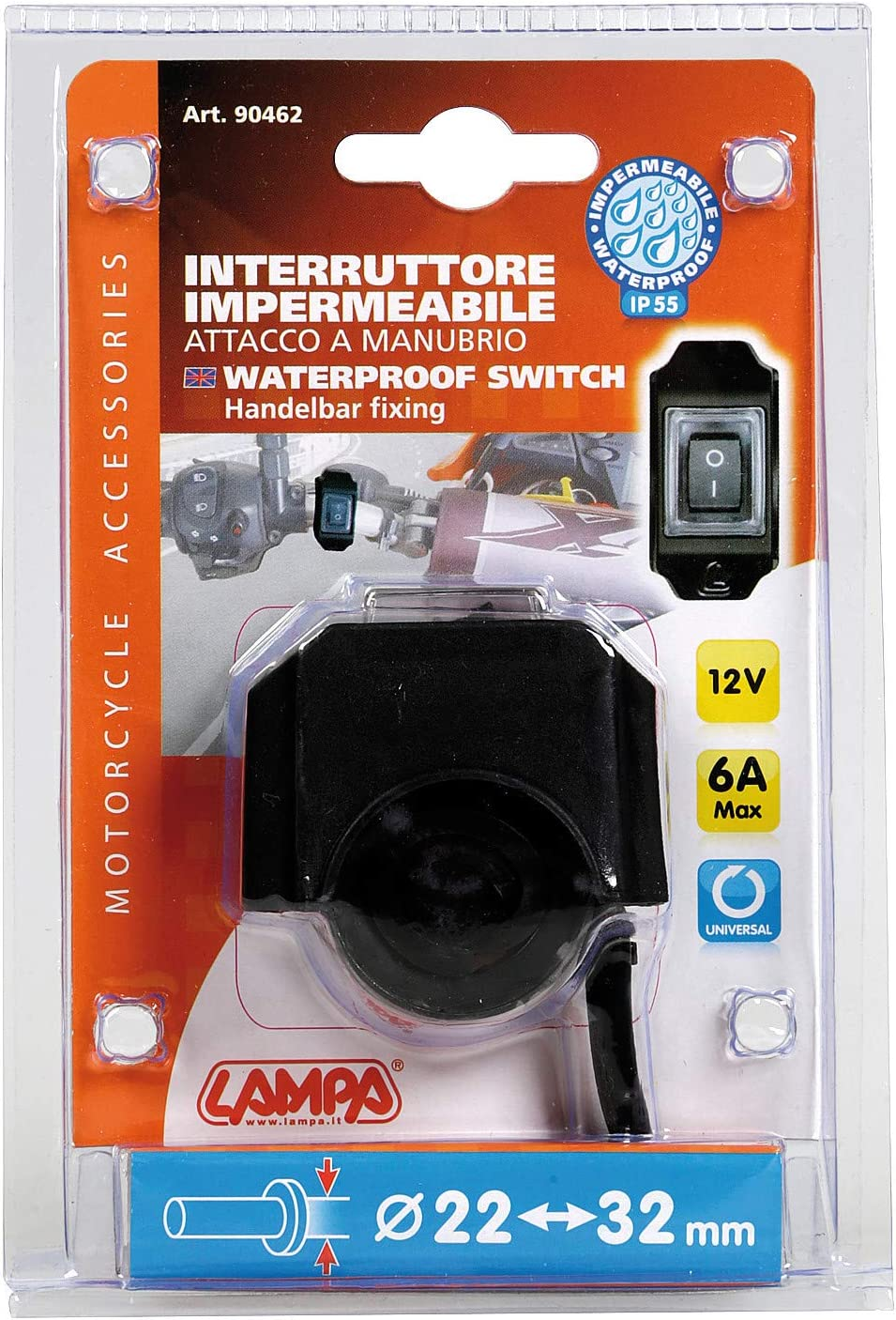 Lampa 90462 Waterproof Switch with Handlebar Attachment