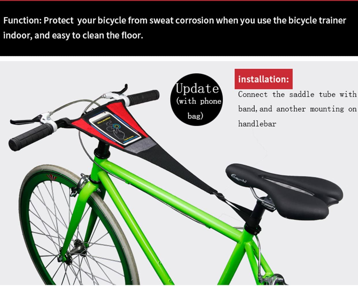 NEWCOMDIGI 1 Pack Bike Frame Sweat Guard Sweat Absorbs Prevent Bicycle from Corrosion for Bicycle Trainer Indoor Cycling Training