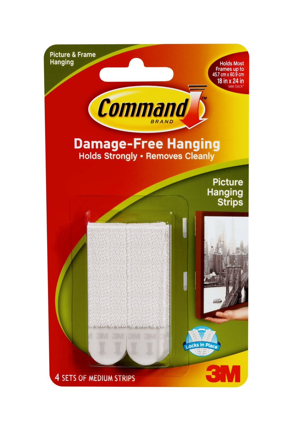Wall Hanging Without Nails Part - 38: Amazon.com: Command Picture Hanging Strips, Medium, White, 4-Pairs  (17201-4PK-ES): 3M: Home Improvement