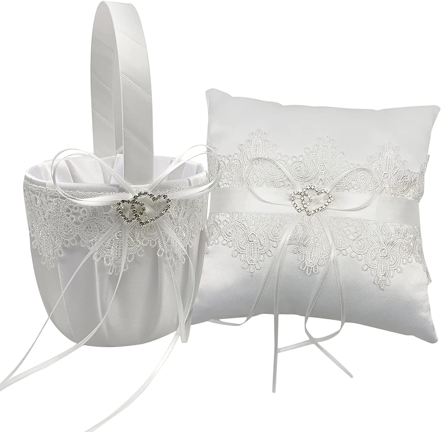 Staright Flower Basket+Wedding Ring Bearer Pillow Double Heart Cute Bowknot Lace Ribbon Crystal Pearl Decor for Wedding Party Romantic