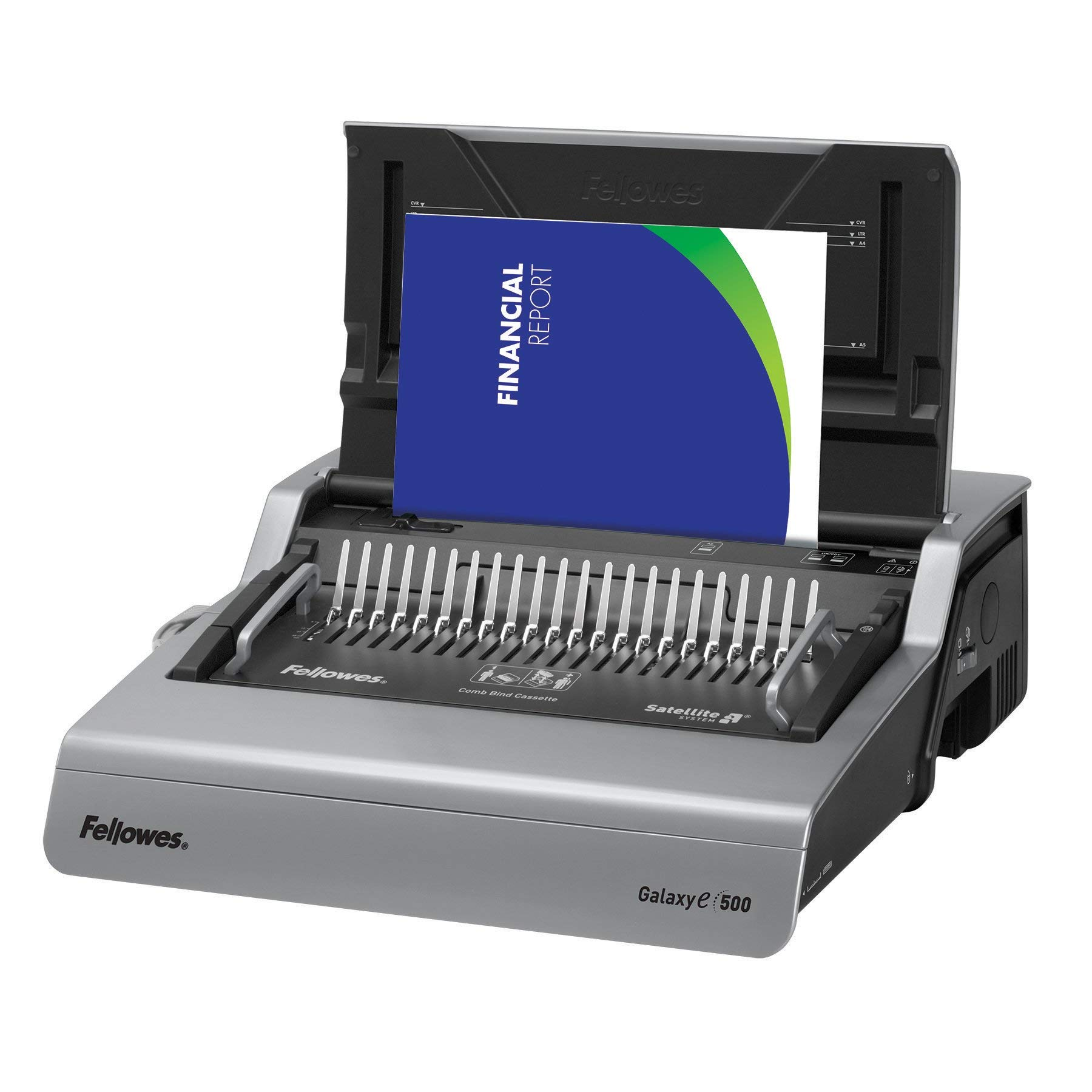 Fellowes 5218301 Galaxy 500 Electric Comb Binding System, 500 Sheets, 19 5/8x17 3/4x6 1/2, Gray (Renewed)