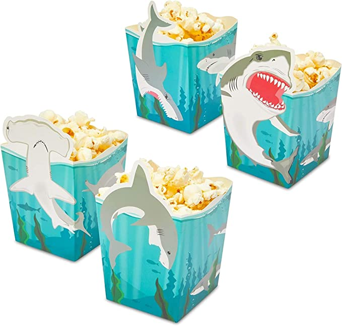 Shark Party Favor Popcorn Boxes for Kid's Birthday Party (16 oz, 60 Pack)