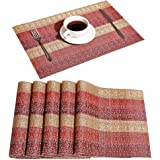 DOLOPL Valentines Placemat Placemats Red and Gold Waterproof Placemats Set of 6 Woven Vinyl Durable Table Mat Easy to…