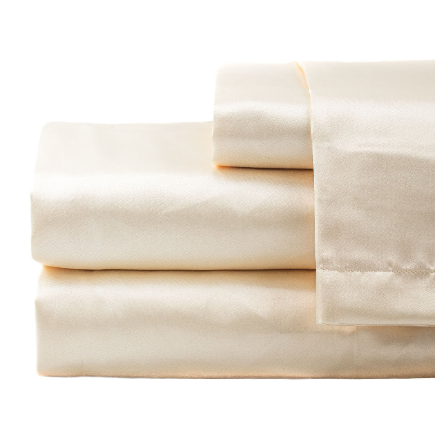 zry_dlifa Queen size Ivory Hotel Collection Satin Sheet Sets
