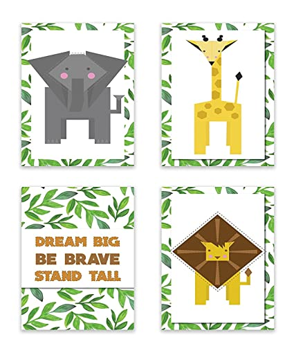 amazon com jungle animals jungle buddies print in 12x18 inch print