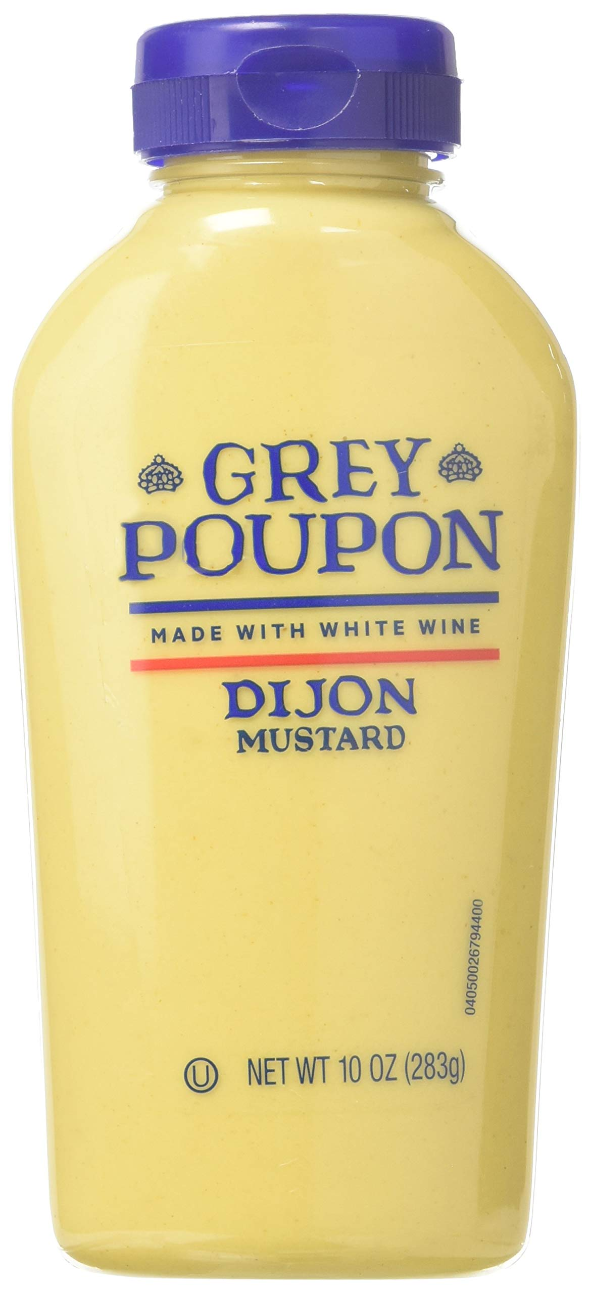 Grey Poupon Dijon Mustard (10 oz Bottle) 1 One 10 oz. bottle of Grey Poupon Dijon Mustard Grey Poupon Dijon Mustard uses the finest ingredients for a gourmet condiment #1 Grade Mustard Seeds and spices provide strong, delicious flavor