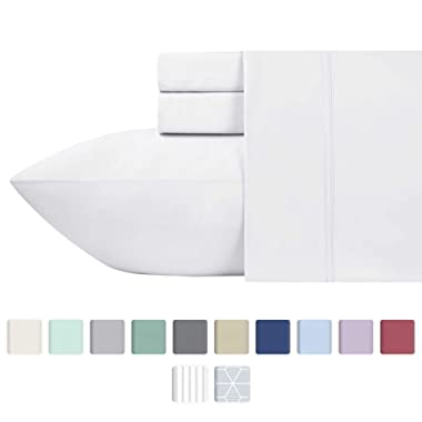 600-Thread-Count Best 100% Cotton Sheets & Pillowcases Set - 4 Pc Pure White Long-staple Combed Cotton Bedding Queen Sheet For Bed, Fits Mattress Upto 18'' Deep Pocket, Soft & Silky Sateen Weave