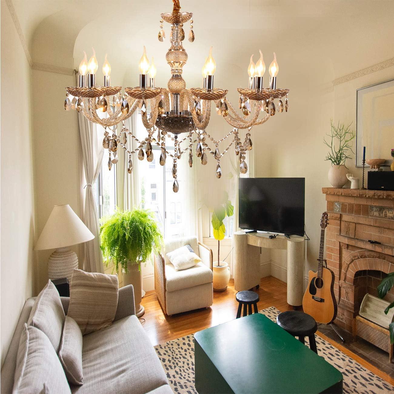 Samger 10 Arm Leuchter K9 Kristallglas Deckenleuchte E12 Anh/änger Lampe Cognac Farbe zum Wohnzimmer Schlafzimmer Flureingang