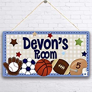 MUPIANLX Personalised Blue All Star Boys Sports & Customized Gift for Baby-Decor for Girls, Football Soccer Baseball Bedroom Personalised Door Sign Wood Plaque Sign Wall Decor Gift -5x10 inches