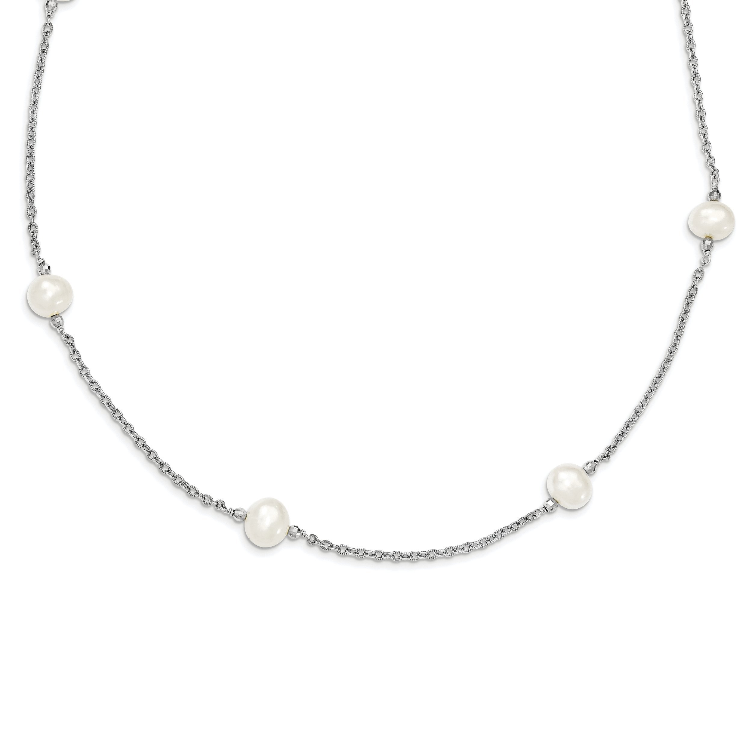 ICE CARATS 925 Sterling Silver Freshwater Cultured Pearl Mirror Beads Chain Necklace Fine Jewelry Gift Set For Women Heart