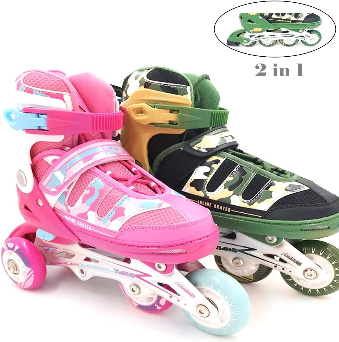 Mpoutik Boys Girls Adjustable Inline Skates Roller Skates 2 in 1 Convertible Speed Roller Skates Shoes for Children Kids Teens
