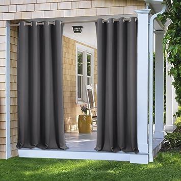 PONY DANCE 108 Inch Drop Outdoor Blackout Curtain Drapery Grey Water Resistant Wind Proof Window Treatment