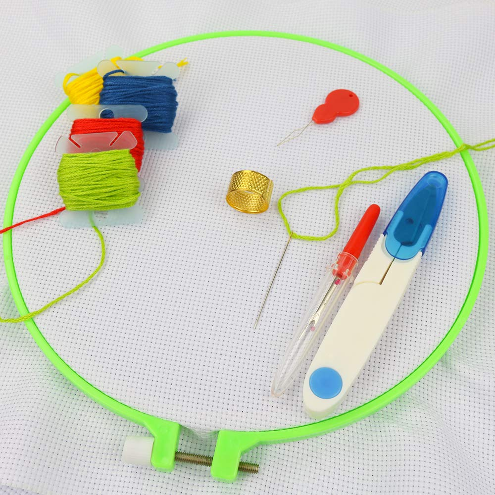 Similane Multicolor Embroidery Hoops with other tools