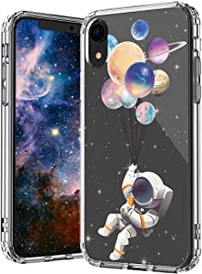 MOSNOVO iPhone XR Case, Astronaut Planet Pattern Printed Clear Design Transparent Plastic Back Case with TPU Bumper Protective Case Cover for iPhone XR