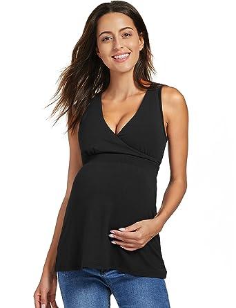 60d7002d74f9 Gratlin Women's Soft V Neck Plunge Maternity Nursing Tank Top Black S