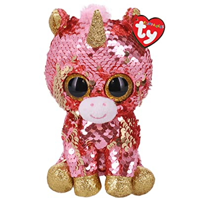 "Ty Sunset - Sequin Coral Unicorn - Medium - 10"": Toys & Games"
