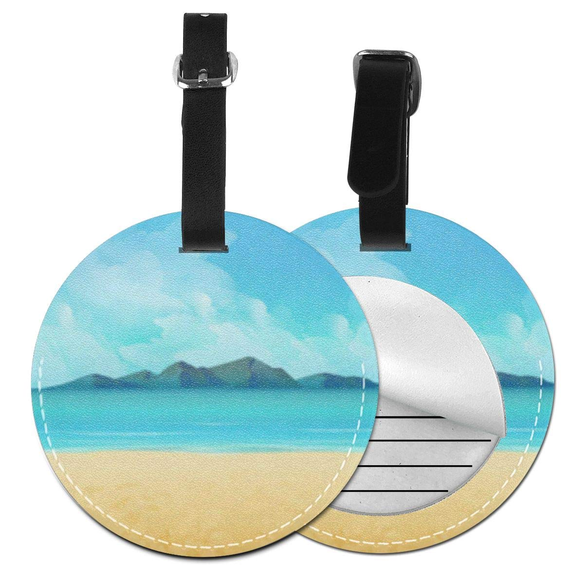 Round Luggage Tags Retro Background Futuristic Landscape 1980s Style Travel Accessories Suitcase Name Tags