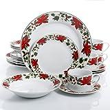 gibson home poinsettia holiday 20 piece dinnerware set christmas theme