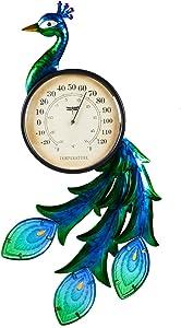 Evergreen Garden Peacock Outdoor Wall Thermometer
