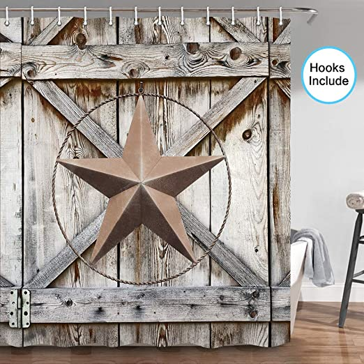Gray Rustic Barn Wood Door Texas Star Fabric Shower Curtain Set Bathroom Decor