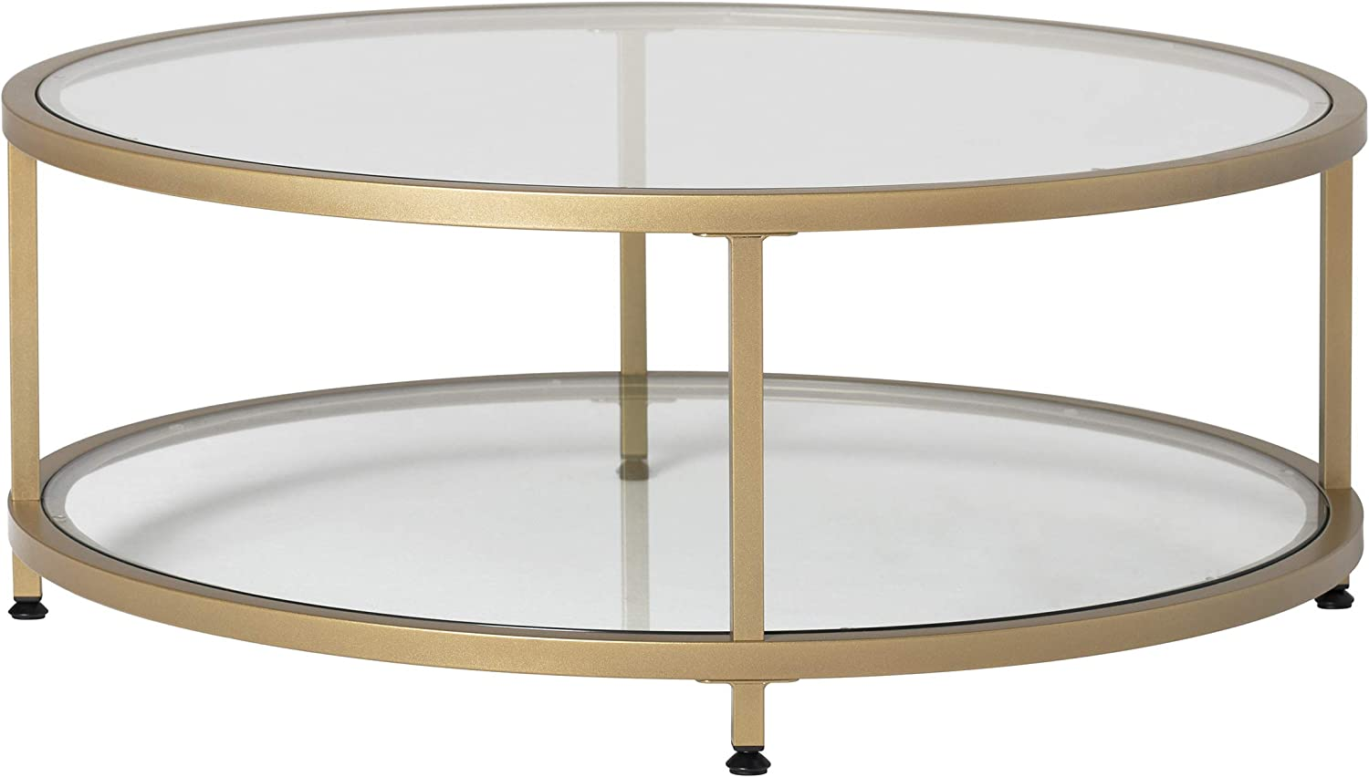 "Studio Designs Home Camber 2-Tier Modern 38"" Round Coffee Table in Gold/Clear Glass"