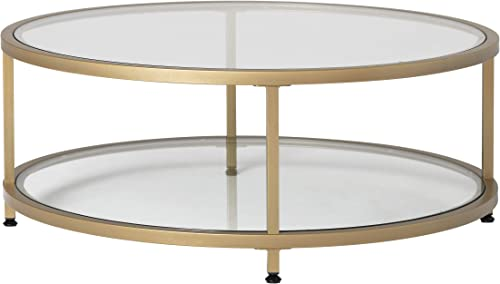 Studio Designs Home Camber 2-Tier Modern 38 Round Coffee Table in Gold Clear Glass