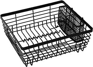 TQVAI Kitchen Dish Drying Rack with Full-Mesh Silverware Basket Holder, Black
