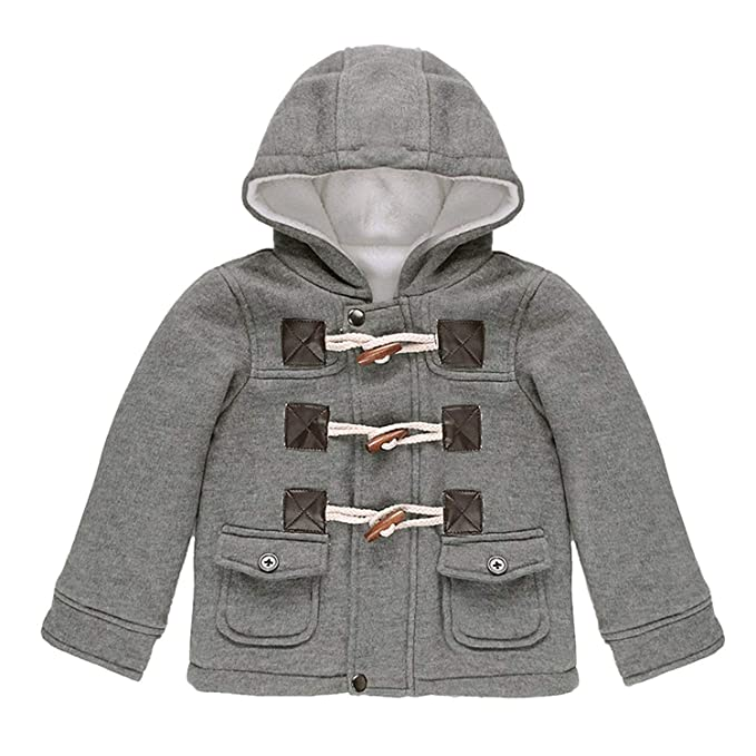 1918bad1d Amazon.com  Happy childhood Baby Boys Hooded Coat Duffle Horn Button ...