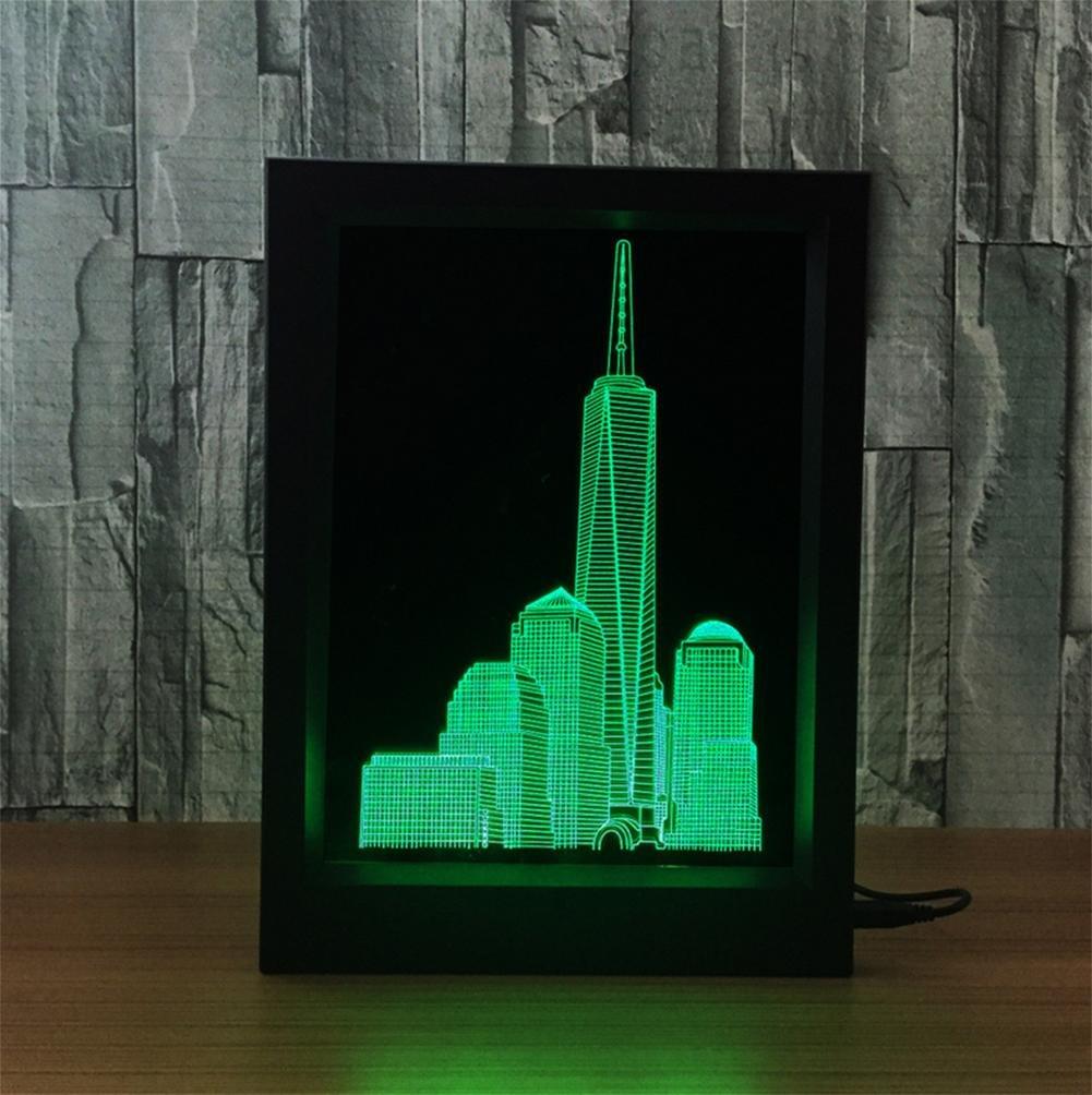 Xh&Yh 3D Gebäude Bilderrahmen Tischleuchte LED Acryl Tischleuchte ...
