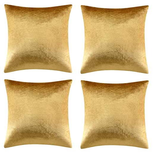 Oro De lujo Terciopelo Almohadon Cubre Caso, Rayas Acento Confortable Funda de Cojin, Mejor Decoración Square Sham Fundas de Almohada Para Sofá Sofá ...