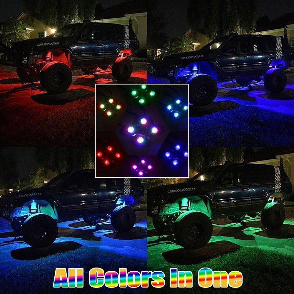 Wiipro LED RGB Rock Lights Kit 4 Pods Multicolor Neon Underglow Lighting APP Bluetooth Control /& Timing /& Flashing /& Music Mode for JEEP Off Road Truck Car ATV SUV Yacht Boat 4332998144